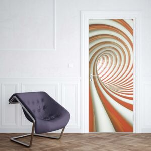 GLIX Fototapeta na dvere - 3D Swirl Tunnel Orange And White
