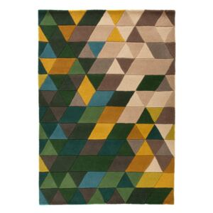 Vlnený koberec Flair Rugs Illusion Prism Green Triangles, 80 × 150 cm
