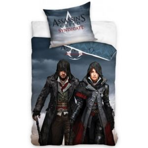 Carbotex · Posteľné návliečky Assassin's Creed Syndicate - Jacob and Evie - 100% bavlna - 70x80 cm + 140x200 cm