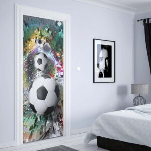 GLIX Fototapeta na dvere - 3D Footballs Puzzle Tunnel Multicoloured