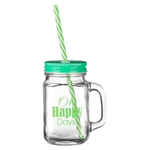 Pohár so zeleným viečkom a slamkou Premier Housewares Happy Days, 450 ml