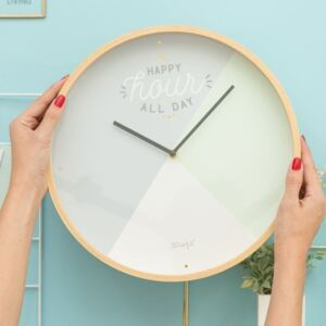 Nástenné hodiny Mr. Wonderful Happy hour all day, priemer 35 cm