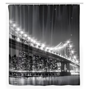 Sivý sprchový záves Wenko Led Brooklyn Bridge, 180 × 200 cm