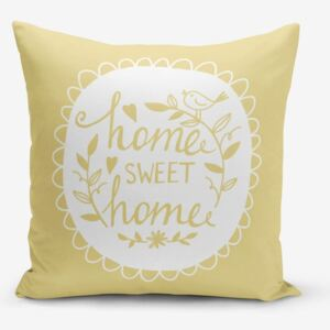 Žltá obliečka na vankúš Minimalist Cushion Covers Home Sweet Home, 45 × 45 cm