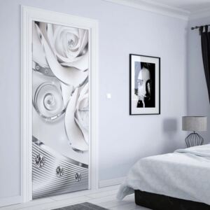 GLIX Fototapeta na dvere - 3D Luxury Ornamental Design Diamonds And Roses Silver