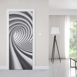 GLIX Fototapeta na dvere - 3D Swirl Tunnel Black And White