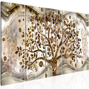 Obraz - Tree and Waves (5 Parts) Brown 225x90