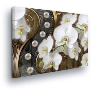 GLIX Obraz na plátne - Flowers with Pearls in Brown 2 x 40x60 / 2 x 30x80 / 1 x 30x100 cm