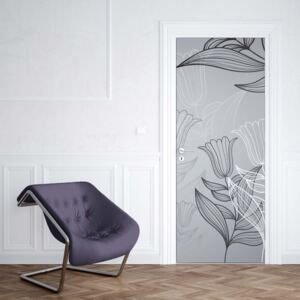GLIX Fototapeta na dvere - Modern Flowers Illustration Grey