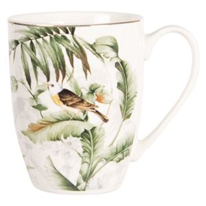 Clayre & Eef Porcelánový hrnček Tropical birds - 0.36L
