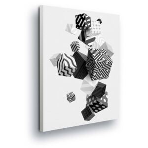 GLIX Obraz na plátne - Black and White Abstract Playing Cubes 25x35 cm