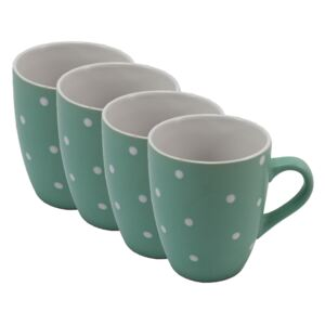 Home Elements Sada 4 ks: Hrnček s bodkami, 380 ml, zelený
