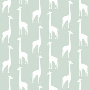 ESTAhome Tapeta Giraffes mint green