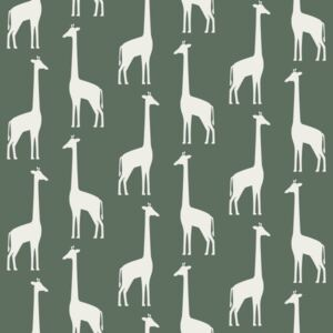ESTAhome Tapeta Giraffes dark green