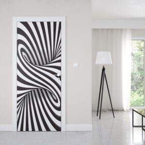 GLIX Fototapeta na dvere - Modern 3D Optical Illusion Design Black And White