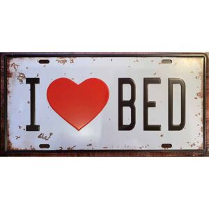 Ceduľa I Love Bed