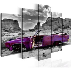 Obraz na plátne Bimago - Retro car at Colorado Desert - 5 pieces 100x50 cm