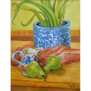 Joan Thewsey - Reprodukcia, Obraz - Blue and White Pot, Jug and Pears, 2006