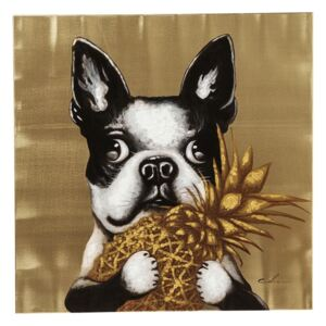 KARE DESIGN Obraz s ručnými ťahmi Dog with Pineapple 80 × 80 cm