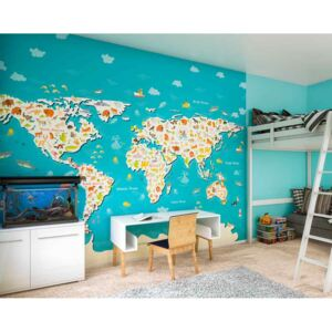 Ohpopsi Fototapeta - Animals Of The World Map 300x240 cm
