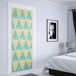 GLIX Fototapeta na dvere - Modern Geometric Triangle Pattern Yellow Green