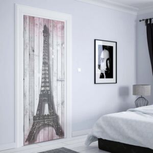 GLIX Fototapeta na dvere - Eiffel Tower Paris Pink Roses Flowers Vintage Wood Planks