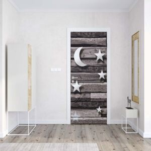 GLIX Fototapeta na dvere - 3D Stars And Moon Wood Plank Texture Grey