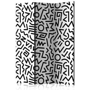Paraván - Black and White Maze [Room Dividers] 135x172