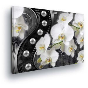 GLIX Obraz na plátne - Flowers with Pearls in Black 100x75 cm
