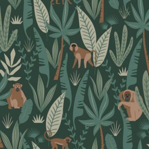 ESTAhome Tapeta Monkeys dark green