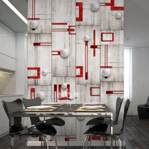 Tapeta Bimago - Concrete, red frames and white knobs + lepidlo zadarmo rolka 50x1000 cm