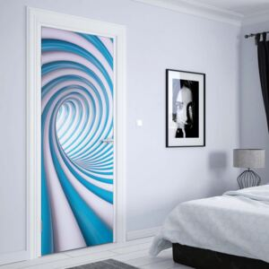 GLIX Fototapeta na dvere - 3D Swirl Tunnel Blue And White