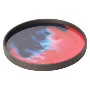 Ethnicraft Podnos Glass Valet Tray Round L, midnight raspberry organic