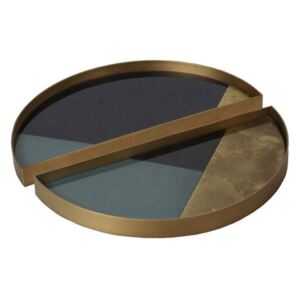 Ethnicraft Podnos Glass Valet Tray Round, geometric