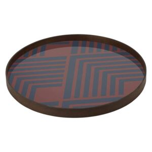 Ethnicraft Podnos Glass Tray Round L, midnight chevron