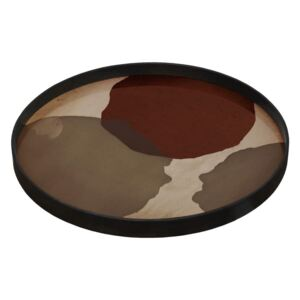Ethnicraft Podnos Glass Tray Round L, overlapping dots