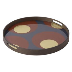 Ethnicraft Podnos Glass Tray Round S, turkish dots