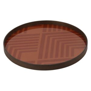 Ethnicraft Podnos Glass Tray Round L, orange chevron