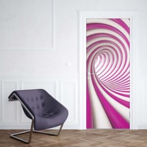 GLIX Fototapeta na dvere - 3D Swirl Tunnel Pink And White