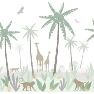 ESTAhome Fototapeta Jungle animals green, gray and brown