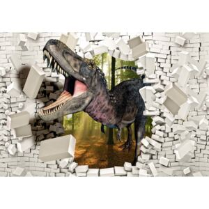 Fototapeta, Tapeta 3D Dinosaur Bursting Through Brick Wall, (104 x 70.5 cm)