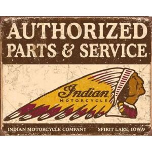Plechová ceduľa Indian motorcycles - Authorized Parts and Service, (40 x 31,5 cm)
