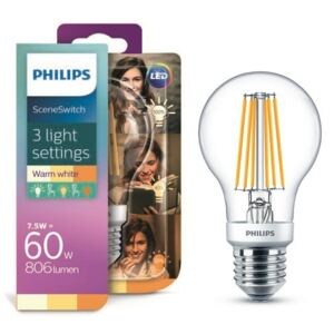 Philips LED žiarovka Classic Scene Switch 1,6-3-7,5/60W E27 WW A60 CL D 3 farby