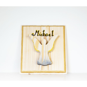 Angel with Name Wooden Picture