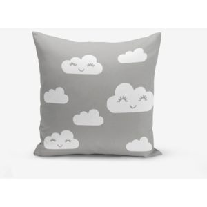Obliečka na vankúš s prímesou bavlny Minimalist Cushion Covers Grey Background Cloud, 45 × 45 cm