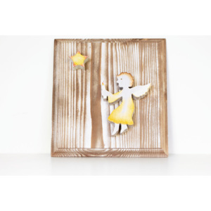 Angel with Star Wooden Picture