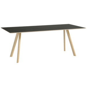 HAY Stůl Copenhague CPH30, matt lacquered solid oak/black linoleum