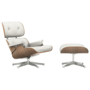 Vitra Eames Lounge Chair & Ottoman, white pigmented walnut