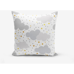 Obliečka na vankúš s prímesou bavlny Minimalist Cushion Covers Grey Clouds With Points Stars, 45 × 45 cm