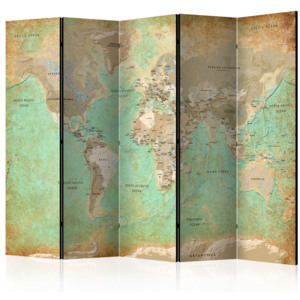 Paraván - Turquoise World Map [Room Dividers] 225x172 7-10 dní